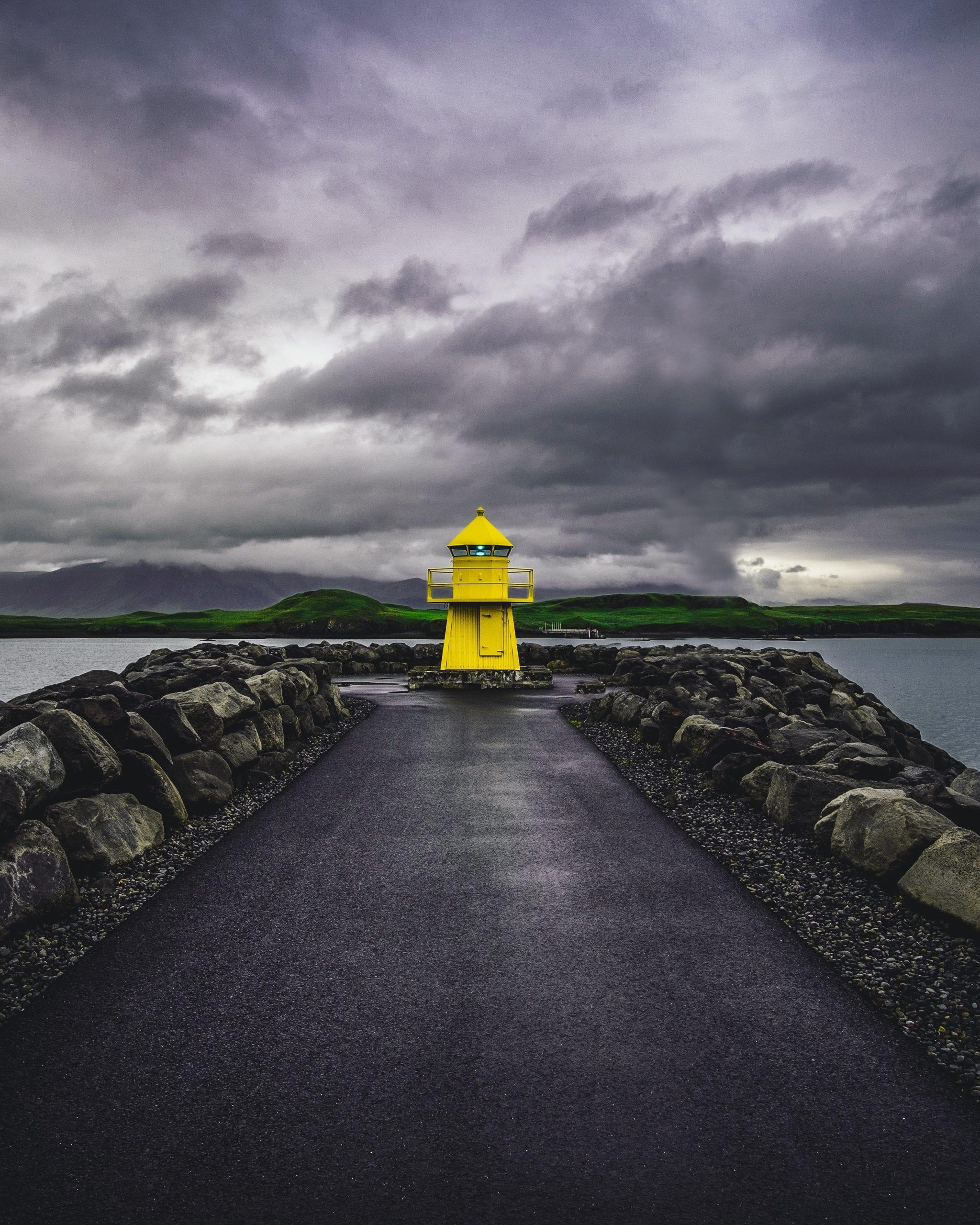 Yellow lighthouse in Reykjavik